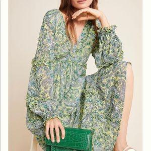 Anthropologie Magdalena Paisley Green Dress Small
